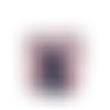 Grande pochette a maquillage femme, broderie colibri, suedine bleu marine,  tissu mauve , fleurs hibiscus,  2 compartiments zippés