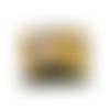 Grand portefeuille zippé, compagnon femme, cuir recyclé kaki, tissu jaune fleuri, 14 porte-cartes,  printanier, fermeture éclair