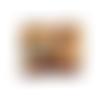 Grand portefeuille zippé, liège marron, tissu jaune ocre fleuri,  14 porte-cartes, porte-monnaie, bohème, fermeture ecla