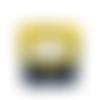 Petit porte-monnaie  accordéon  femme, 3 compartiments, tissu jaune,  chats, suédine bleu marine, porte-cartes