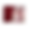 Porte-chéquier horizontal  femme, souche à gauche, suédine rouge, tissue rose, alice au pays des merveilles