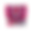 Petit porte-monnaie  accordéon femme ,broderie mandala,  3 compartiments, tissu style ethnique, suédine fuchsia