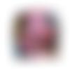 Petit portefeuille femme, tissu noir, motif floral, cuir mauve, coloré, printanier, 4 porte-cartes, porte- billet, minimaliste