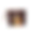 Grande pochette a maquillage femme, faux cuir marron vieilli, bleu pétrole, tissu jaune ocre , fleurs ,  2 compartiments zippés