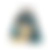 Porte-monnaie rétro femme en  tissu bleu nuit, biche, chouette , fleurs fermoir métallique bronze,, animaux de la forêt