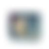 Portefeuille compact femme, tissu bleu marine,  animaux de la forêt, biche, renard  faux cuir bleu ciel, biche