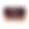 Grand portefeuille brodé femme, suédine aubergine, tissu jaune orangé,  fleurs sauvages, bohème, broderie pissenlit, coloré