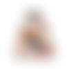 Porte-monnaie rétro femme, tissu blanc avec oiseaux, fermoir métallique vintage