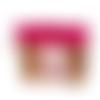 Grande pochette a maquillage femme,en suédine fuchsia, tissu blanc avec oiseaux et faux cuir camel,  2 compartiments zippés