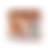 Porte-chéquier femme en liège marron avec des éclats cuivrés  et en tissu blanc avec des oiseaux colorés