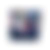 Petit porte-monnaie accordéon femme , alice au pays des merveilles, suédine bleu marine 3 compartiments