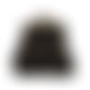 Porte-monnaie rétro femme, bourse vintage ,  tissu noir doré , motif  chat ,  fermoir métallique bronze