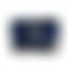 Grand portefeuille brodé pour femme, en suédine bleu marine, broderie attrape-rêves, tissu bleu avec de grandes fleurs