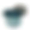 Sac banane pour femme en faux cuir bleu pétrole, similicuir vert d'eau  et tissu gris avec des nuages
