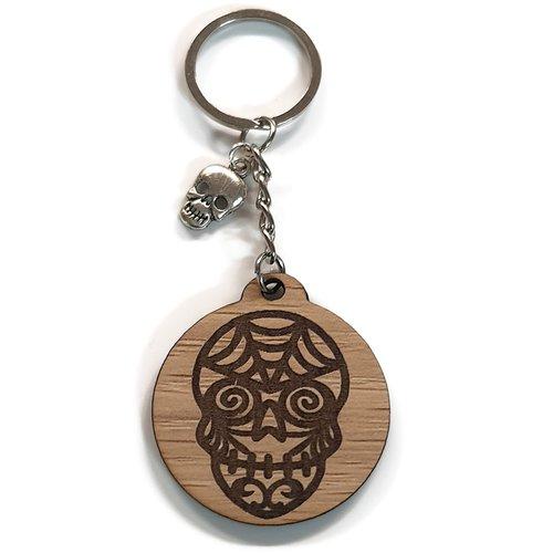 Porte clés tête de mort gravure au laser