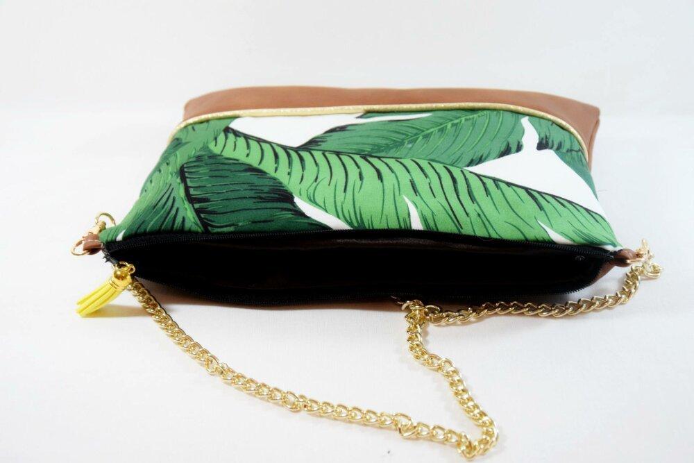 Sac pochette Mariage imprimé végétal avec chaîne - cadeau personnalisable-cadeau noël - cadeau pour femme