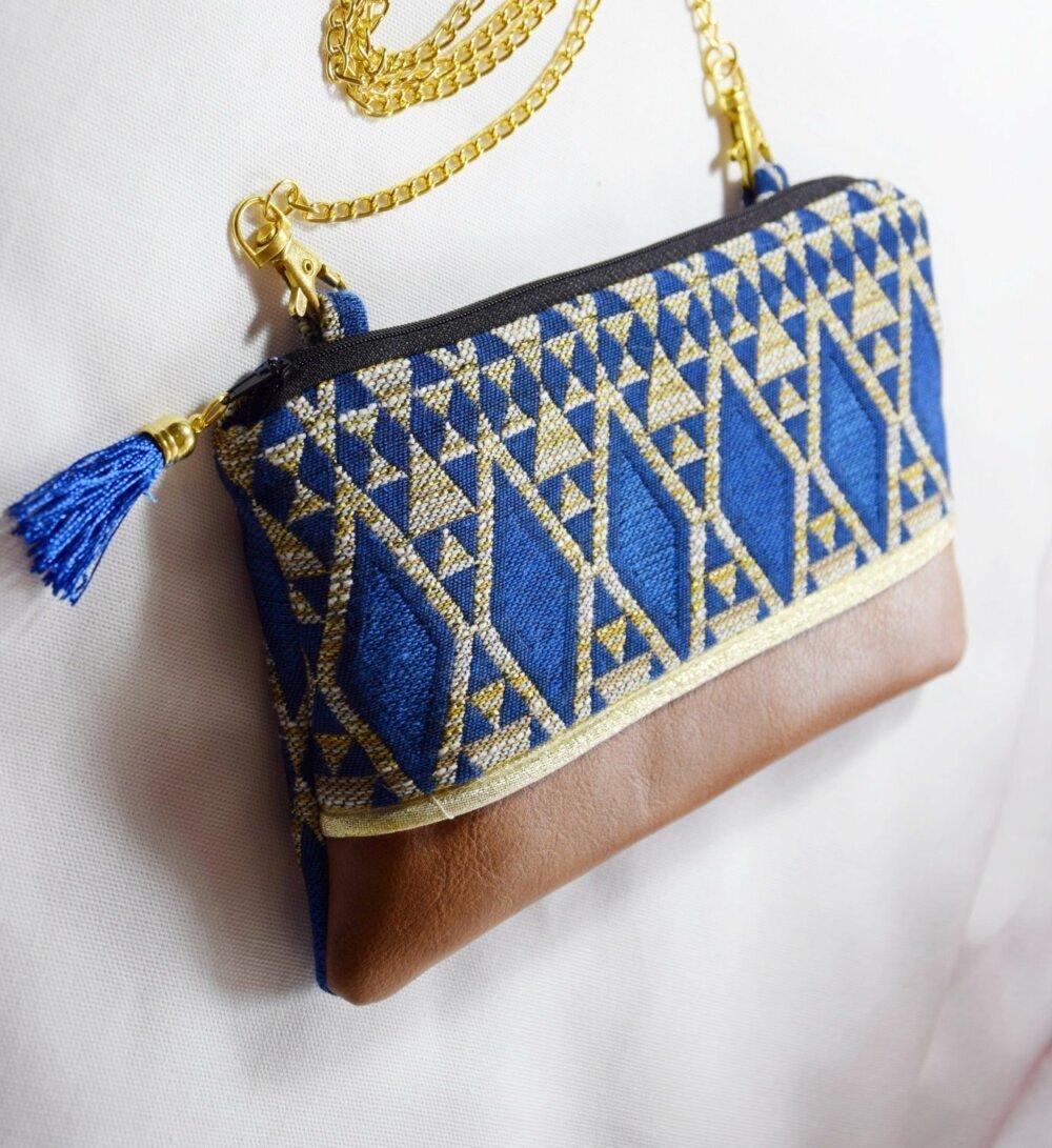 Sac à main -  pochette Mariage avec chaîne aux motifs ethnique -cadeau noël- cadeau pour femme - cadeau moins 50 euros