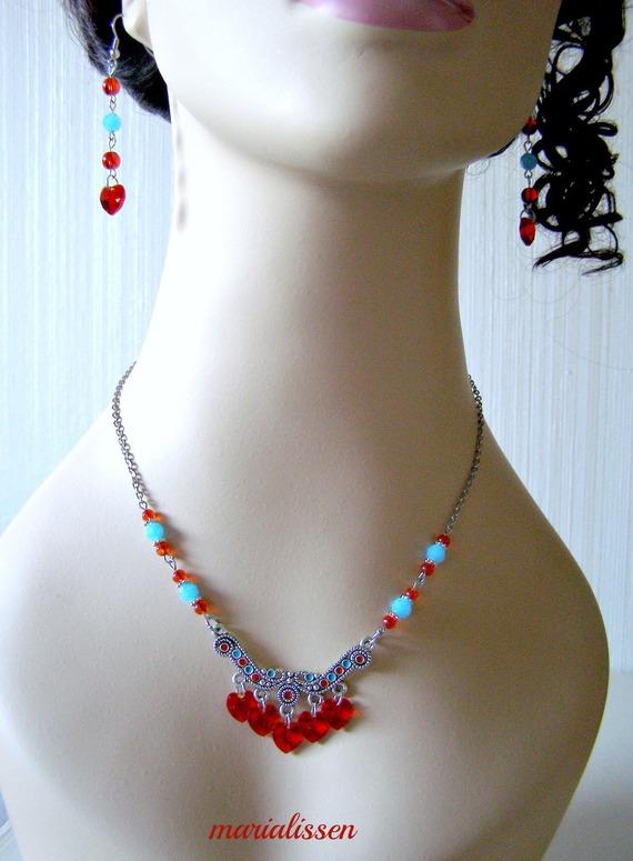 Parure 7 Cœurs Cristal Rouge Connecteur Central Émaillé Perles Verre Acier Inoxydable