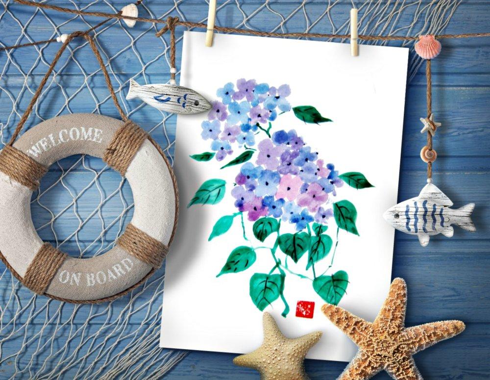 Lot 4 Cartes Les Hortensias du Bord de Mer
