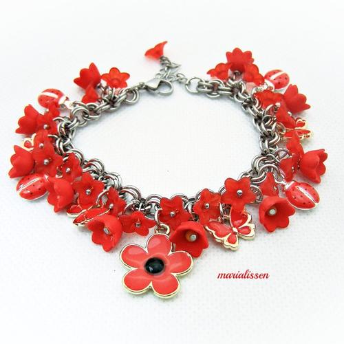 Bracelet fleurs papillons ef coccinelles