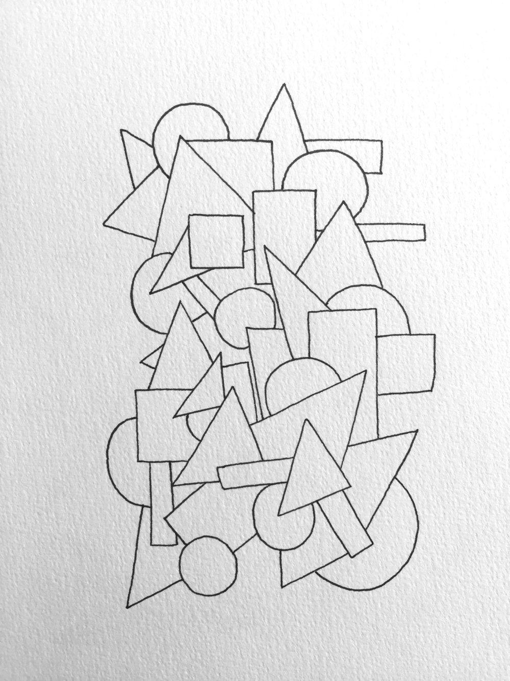 Carte personnalisable - carré rond triangle