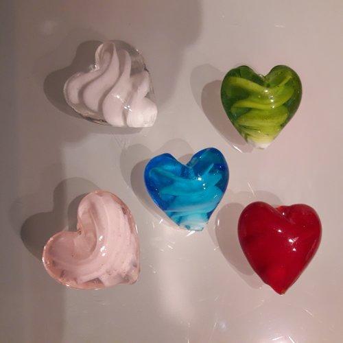 Perle coeur en verre