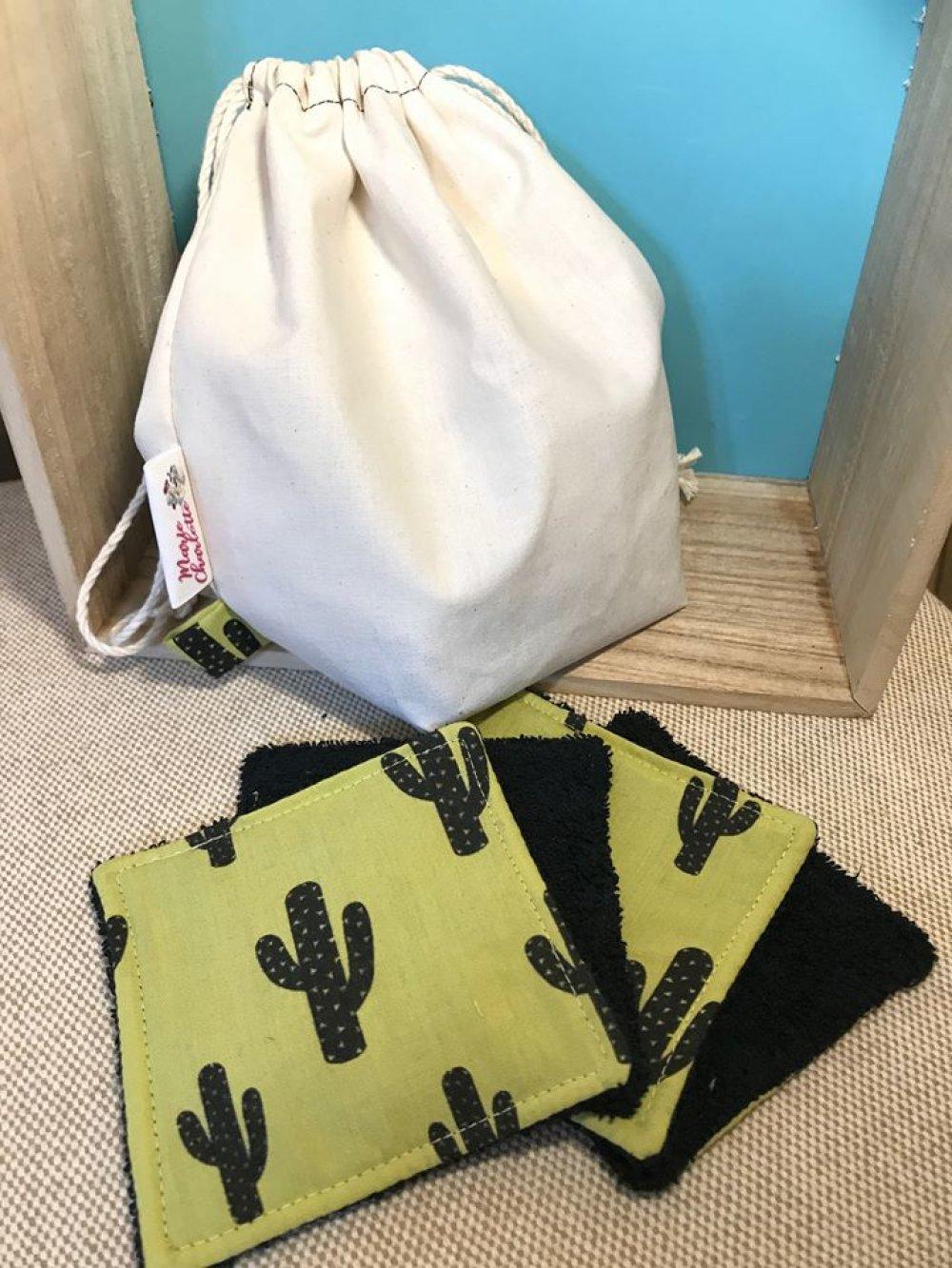 Pochon et ses 10 lingettes démaquillantes lavables cactus jaune et noir