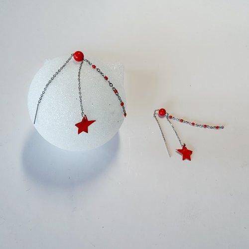 """Boucles d'oreilles""""traversantes"""" pour oreilles percées une ou plusieurs fois, étoile rouge"""