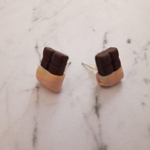 Boucles d'oreilles tablettes de chocolat rose