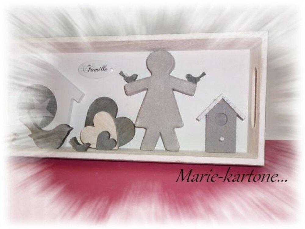 """Cadre décoration  baptême déco chambre  enfant  N 3 """"FAMILLE"""" Cadre en bois peint façon pèle-mêle"""