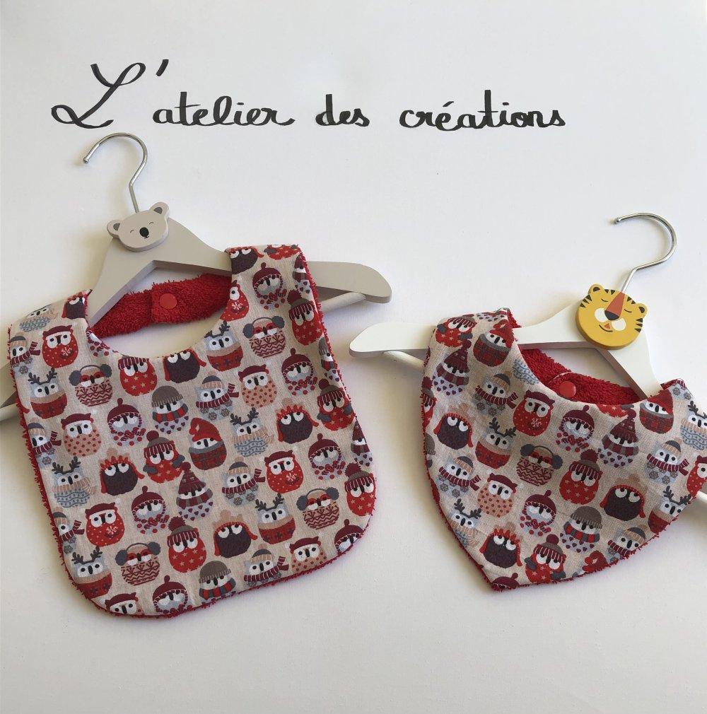 Duo de bavoir et bandana motifs chouettes de Noël
