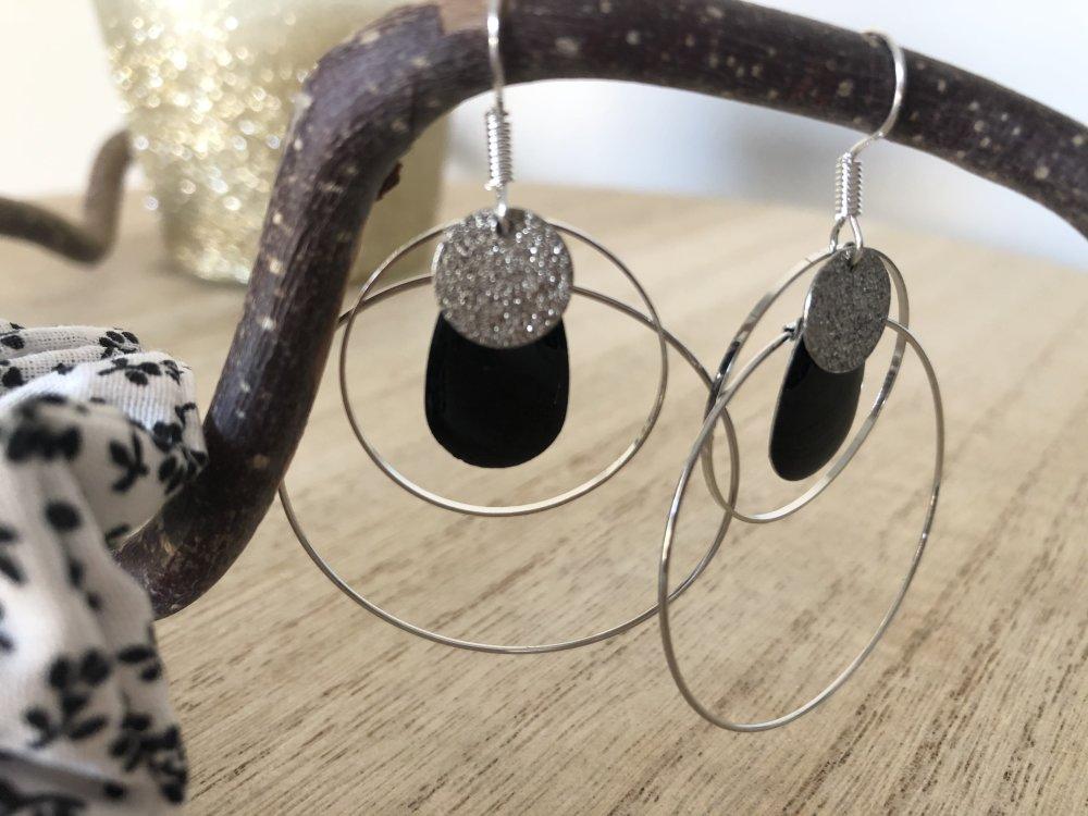 Boucles d'oreilles anneau sequin