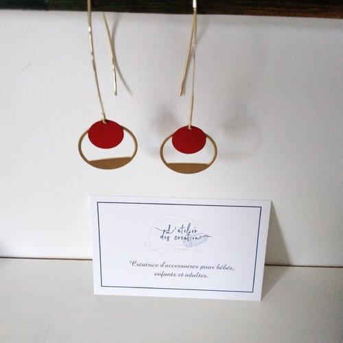 Boucles d'oreilles crochet en métal doré cercle évidé