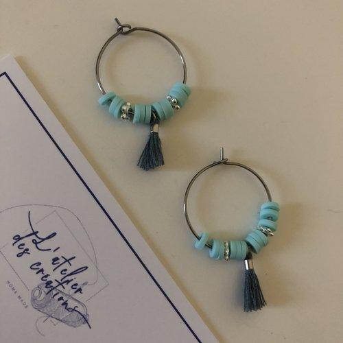 Créoles en métal argenté et perles heishi