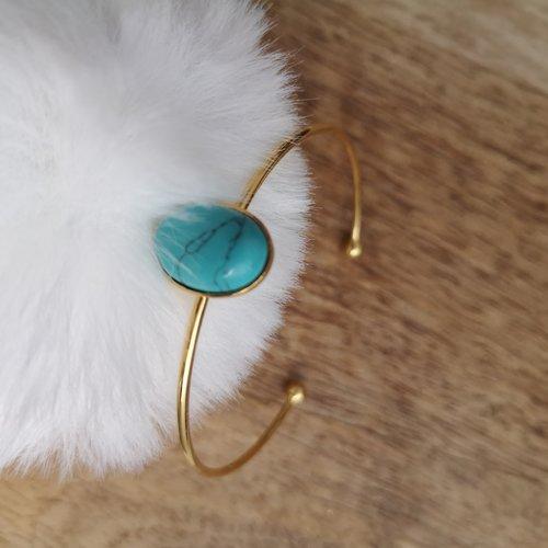 Bracelet / jonc en métal doré à l'or fin avec cabochon turquoise