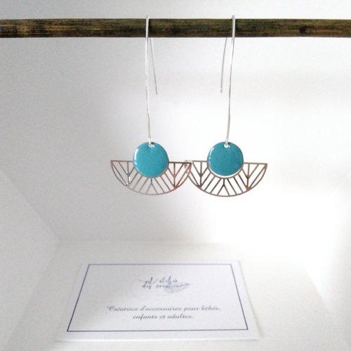 Boucles d'oreilles crochet en métal argenté demi cercle évidé