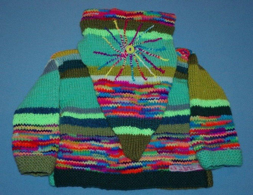 GILET ENFANT  2 ANS original tricoté mains capuche lutin