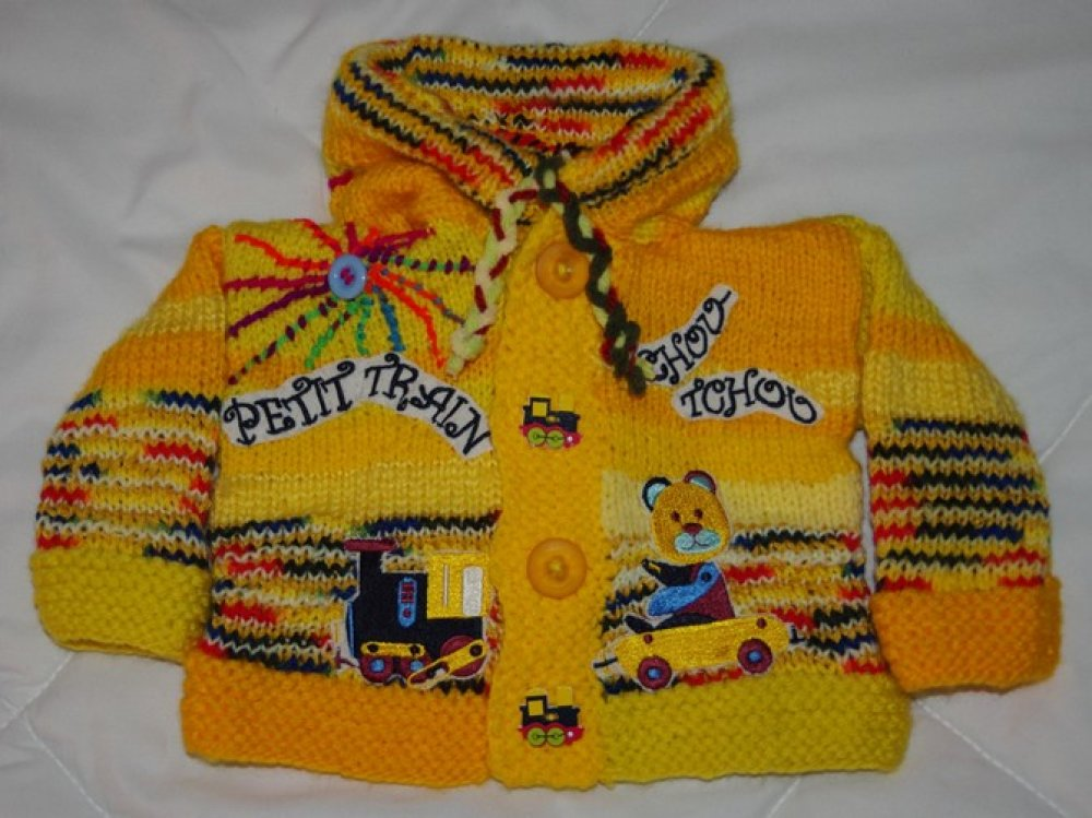 GILET 3 MOIS Garçon original tricoté main capuche lutin