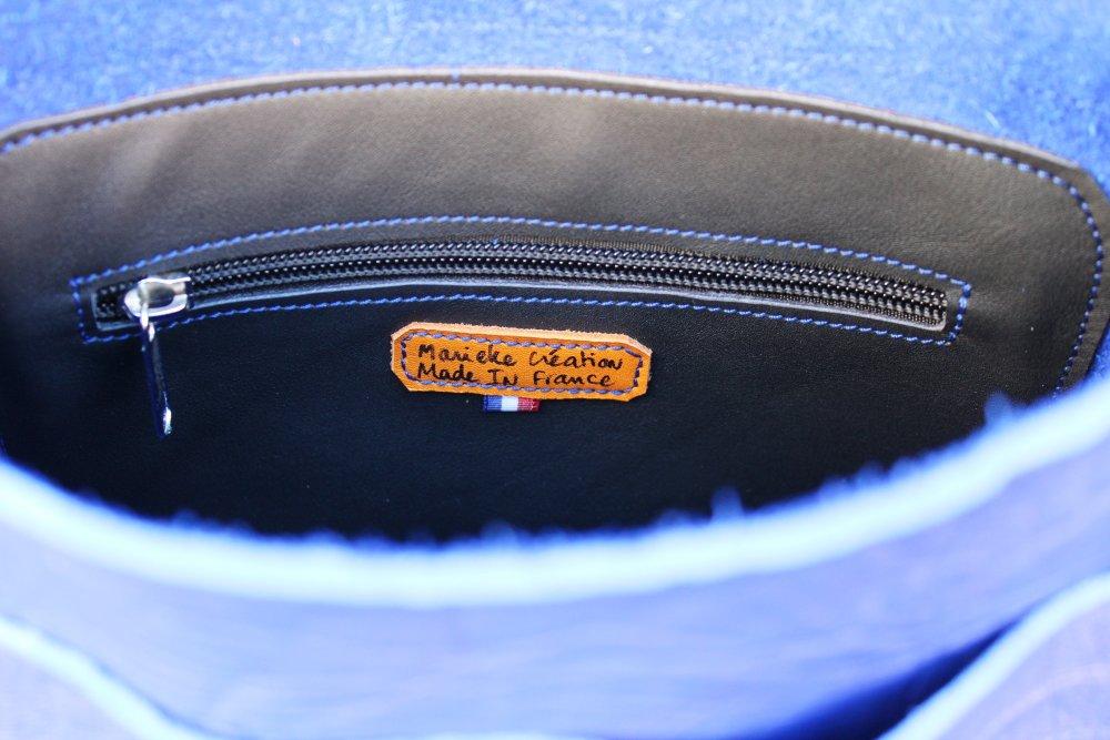 Sac à dos en cuir bleu ; sacs à dos en cuir fait en france prêt à expédier ; idée cadeau cycliste