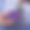 Porte clés sanglier en cuir accessoire de sac violet