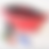 Trousse à maquillage en cuir rouge motif amanite