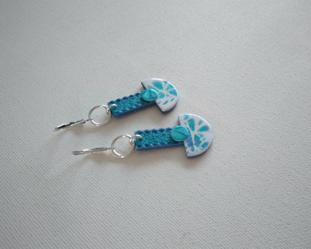 Magie hivernale - Le Lac Baïkal *** Boucles d'oreille, bleu, turquoise nacré, blanc