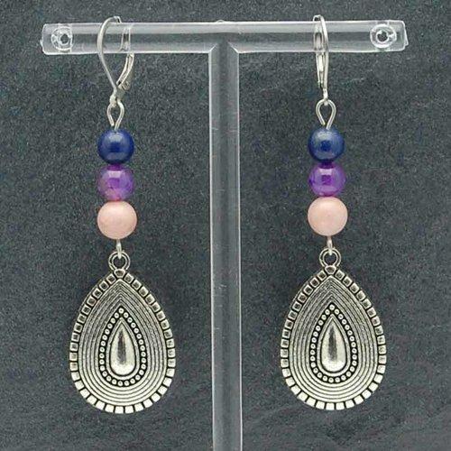 Boucles d'oreilles rhodochrosite, agate, lapis lazuli, bohême chic, idée cadeau