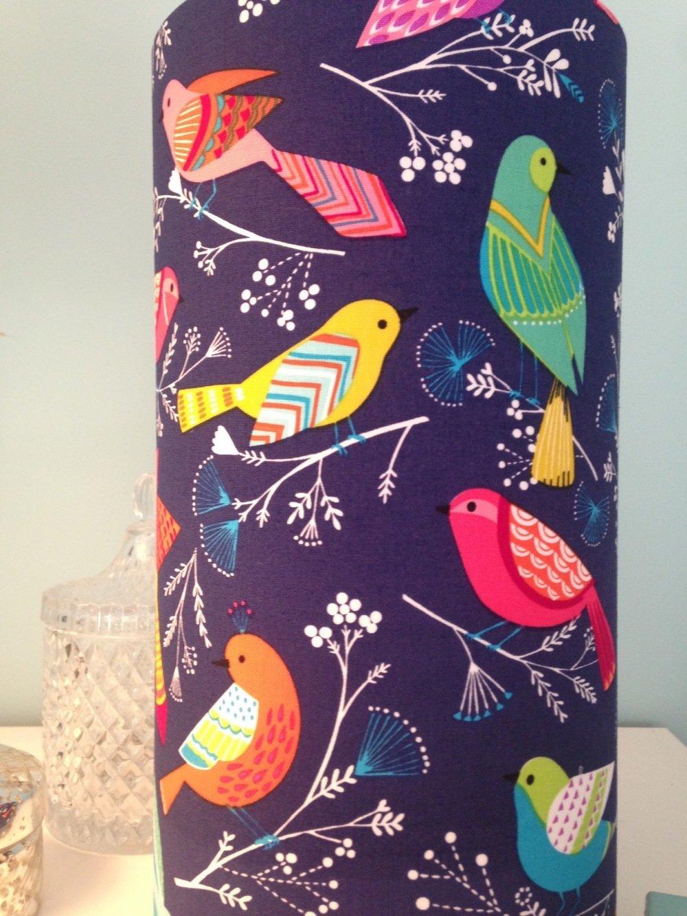 Lampe à poser - imprimé oiseaux colorés fond bleu