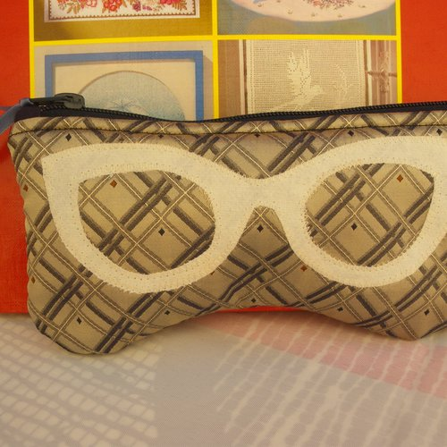 Etui à lunettes molletonné n 58 , housse lunettes de vue ou de soleil, création fait main