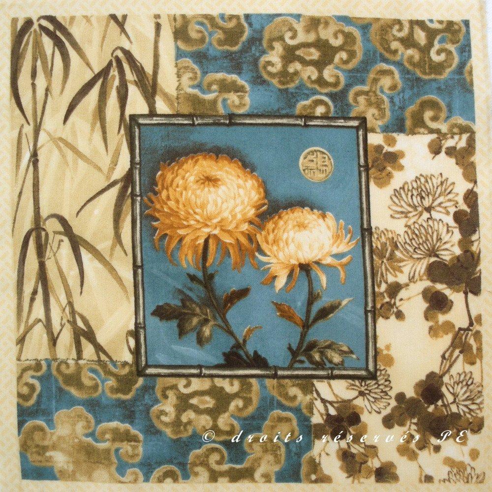 Tissu Patchwork Panneau INSPIRATION JAPONAISE fond bleu n 6