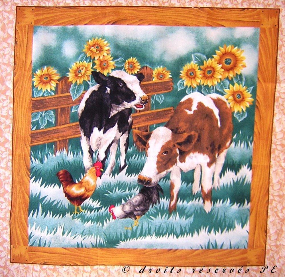Coupon Tissu Patchwork Vignette Panneau 2 VEAUX tournesols n° 2