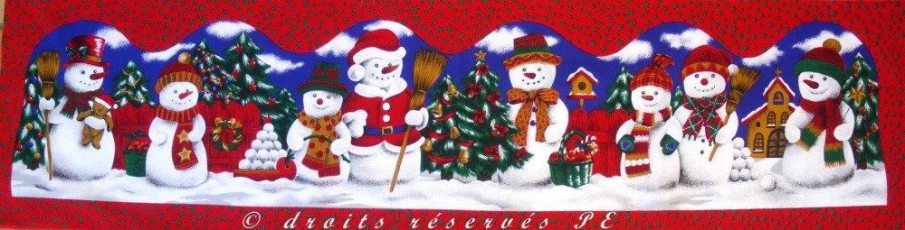 Coupon Tissu Patchwork Noël Panneau BONHOMMES DE NEIGE n 2, pour bannière, bas de porte