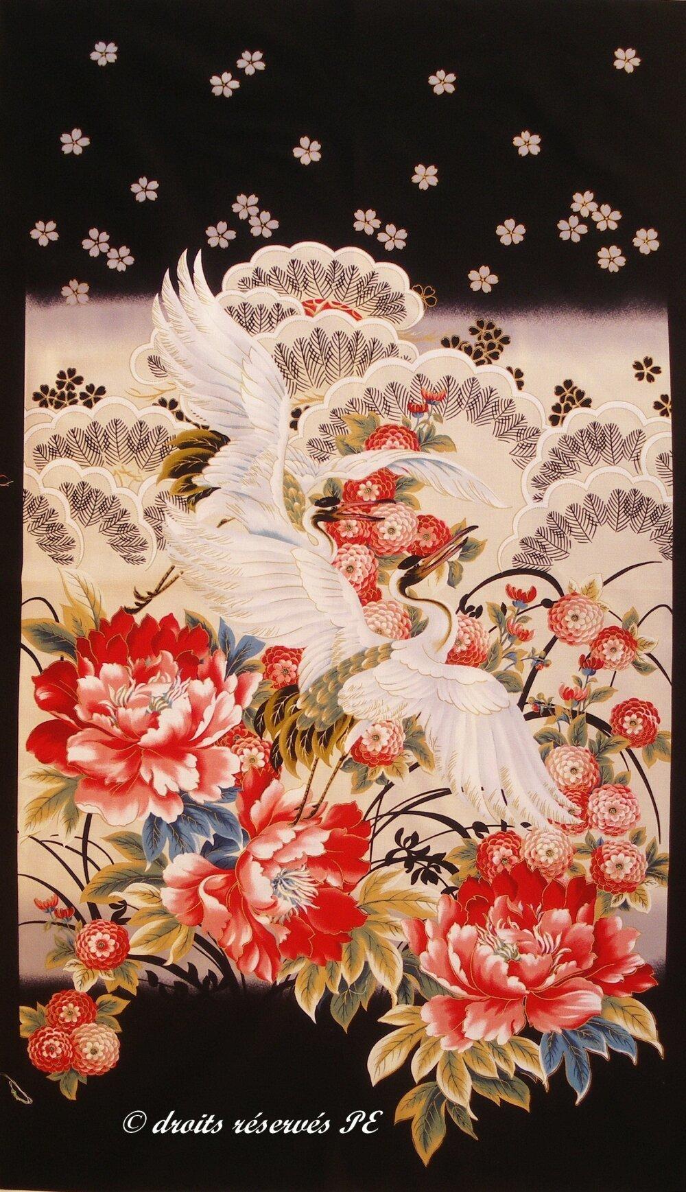 Coupon Tissu Patchwork grand Panneau GRUES inspiration japonaise, pour suspension murale, quilting, patchwork , décoration, ameublement