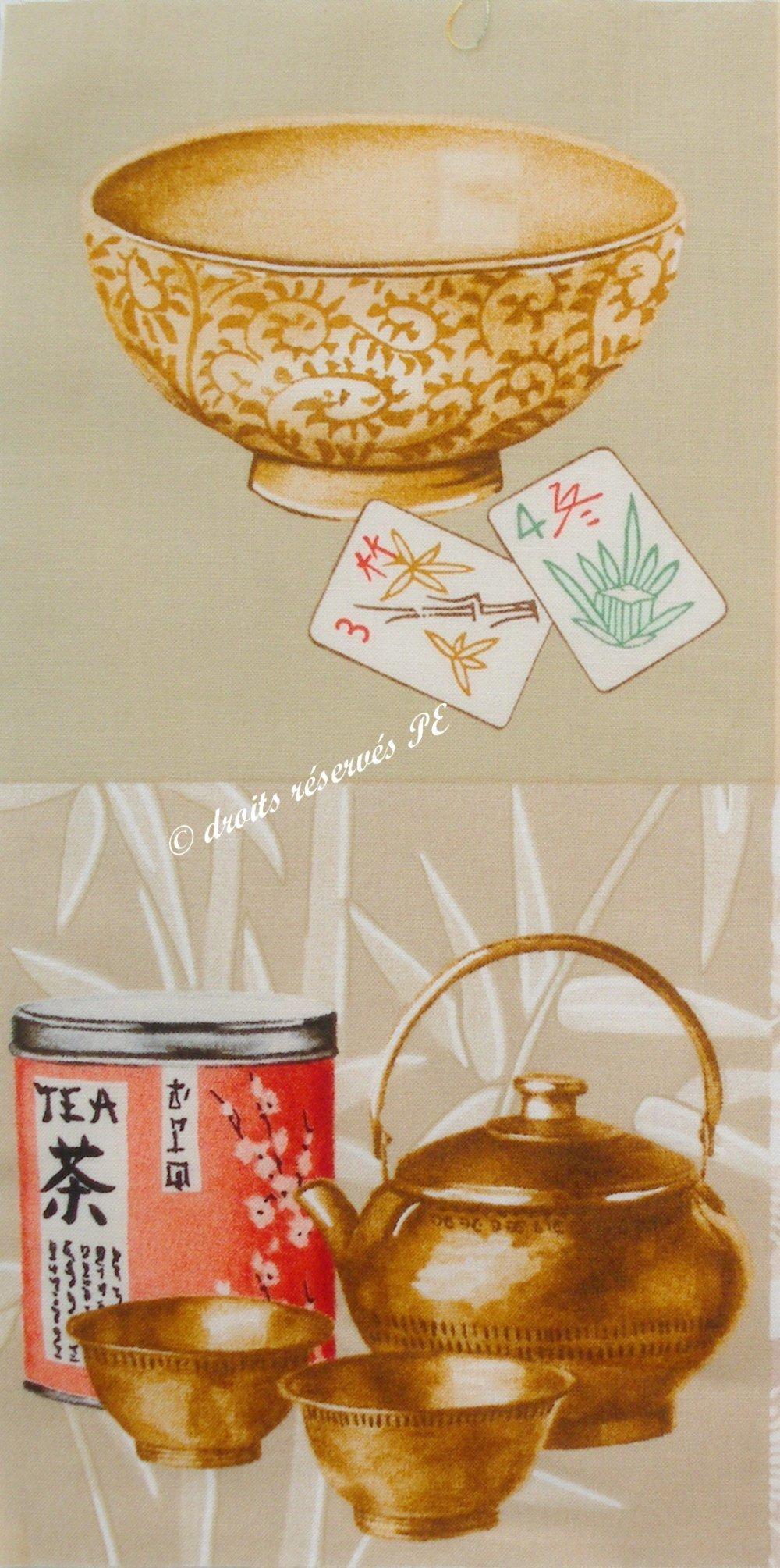 Coupon Tissu patchwork 2 grandes vignettes ACCESSOIRES A THE JAPONAIS, pour cartes, appliqué, couture, customisation,  décoration